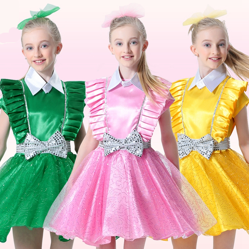Bowknot Decor Pink/green/yellow Floral Girl Dresses First Date Communion for Girls Kids Chorus Show Performance Clothing