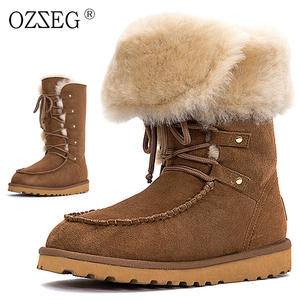 69cb3be08e7 OZZEG Female genuine leather fur snow boot suede shoe women