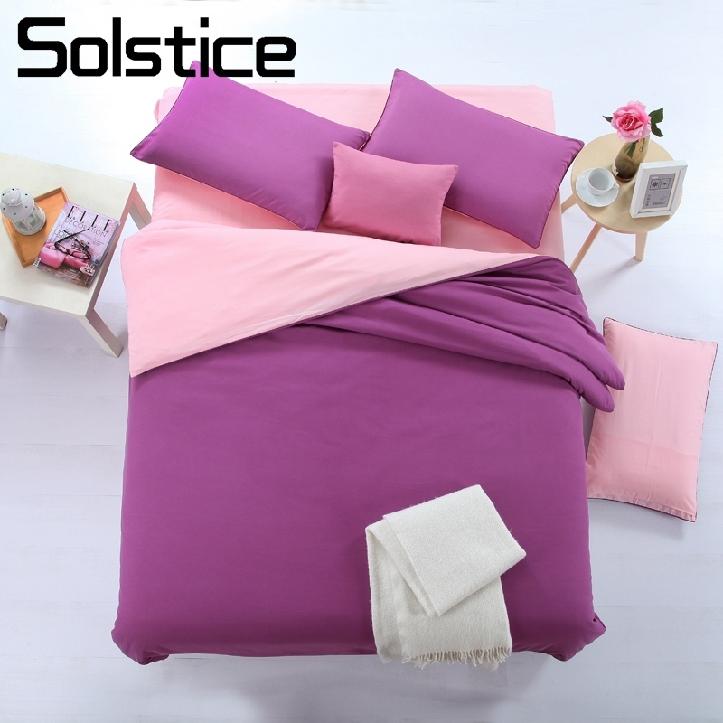 Solstice Home Textile Solid Purple Pink Bedding Set Woman Teen Kid Girls Bed Linens Double Duvet Cover Pillowcase Bed Flat Sheet