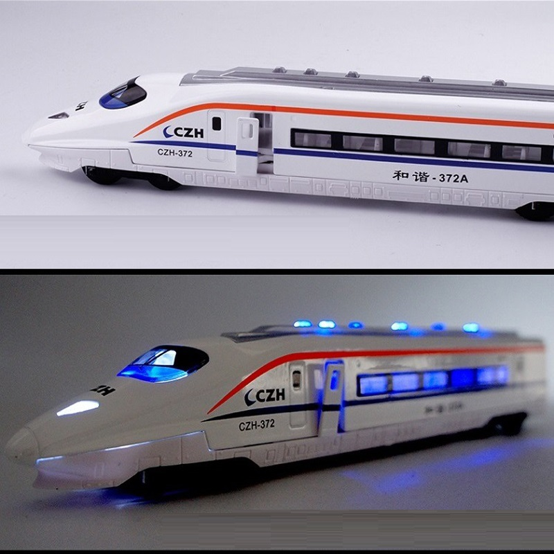 Scale 1:80 Kids Toy High Speed Rail Model with Light Sound Diecast Train Subway Toy Alloy Metal Children Educational Toys Boys