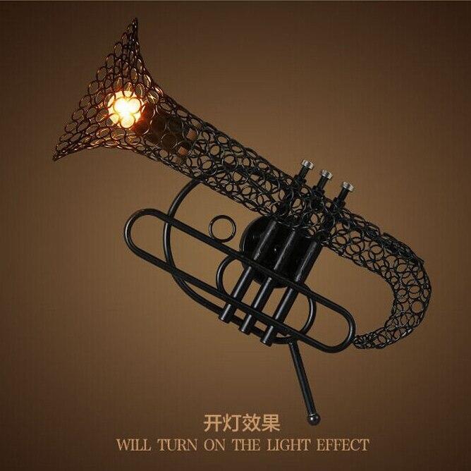 Здесь продается  Vintage industrial wall lamp horn iron rope stairs corridor loft American restaurant hall wall lamp  Свет и освещение