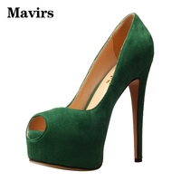 MAVIRS Ladies High Heels Female Pumps Big Size 34 45 Causal Party Flock Peep Toe Thin