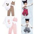 3 ШТ. Baby Rompers Набор Хлопок Новорожденных детская Одежда Мультфильм Одежда Устанавливает Младенческой Детские Костюмы С Длинным Рукавом Комбинезоны для Новорожденных