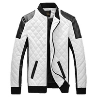 2017 New Design Mens Jackets Winter Autumn PU Leather Black White Fashion Slim Plaid Jacket For