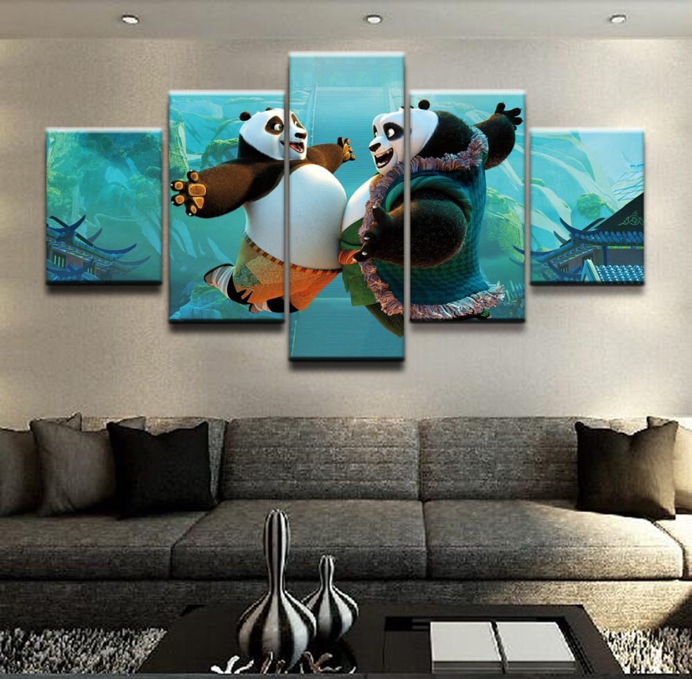 Modular Wall Art Framework Home Decor Poster 5 Pieces Movie Kung Fu Panda 3 Painting For Living Room Canvas Print Pictures in Painting Calligraphy from Home Garden