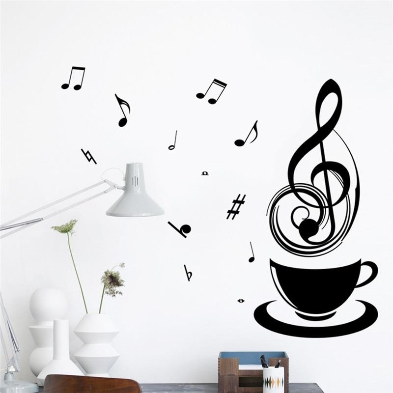 Ncoffee Cups Music Cafe Tea Tea Restaurant Wall Stickers Art