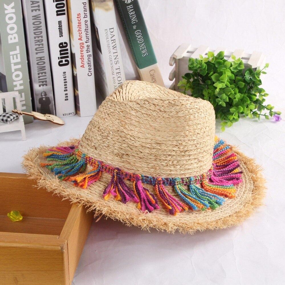 Bohemia étnica playa sombreros para damas borla cuerda Gran Sol ala del Sombrero  Floppy paja rafia sombreros mujeres Sombrero gorras de verano en Sombreros  ... d8635287ce4