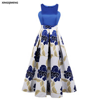 In Stock Simple Blue Evening Dresses Elegant Long Chic Floral Print Formal Spliced Dress Cheap Plus Size Women Prom Gown