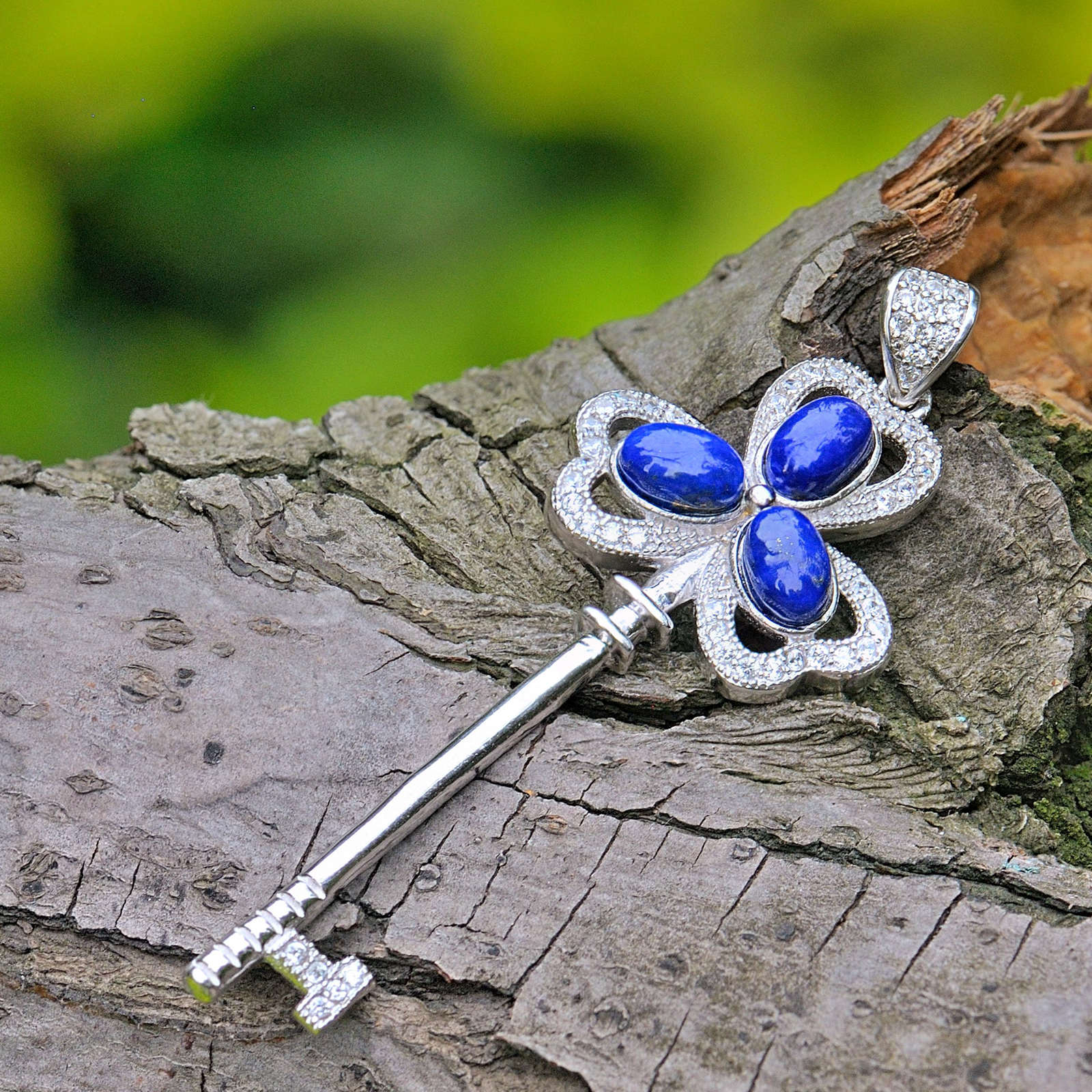 Love Key Vintage 2.5ct Natural Lapis Stone Sterling Silver Lock & Key Pendant энджи стоун angie stone stone love
