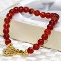 Горячие продажа новая мода 6 мм красный агат круглых бусин прядь браслеты для женщин природного камня элегантные ювелирные изделия делая 7.5 inch B1920