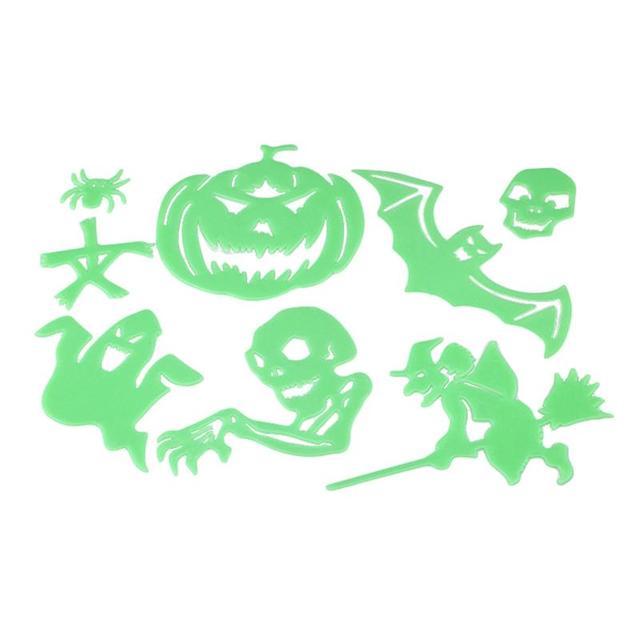 Halloween Luminous Wall Stickers Funny Pumpkin Ghost Witch Bat ...