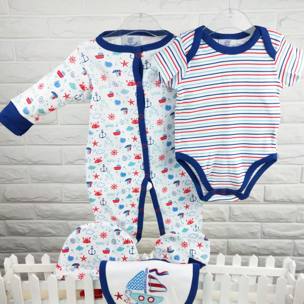 Spring Autumn 5pcs Newborn Boy Baby Clothes Infant 100% Cotton Baby Romper Set