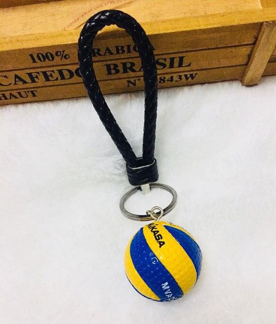 Nueva cuerda de cuero tejido voleibol llavero bola llavero voleibol regalos coche llavero regalos llaveros bolsa mochila