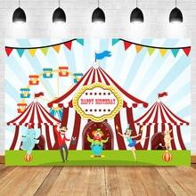 Amusement Park Backdrop Ferris Wheel Circus Tent Happy Birthday Photo Backdrops Clown Dancing Elephant Photography Background