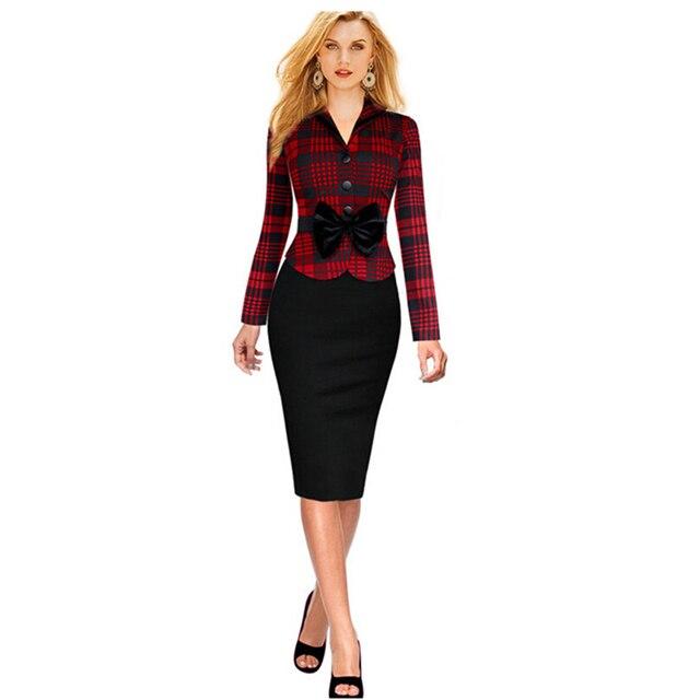 c48332dcb2fc € 17.94 |Elegante moda casual hasta la rodilla a cuadros de manga larga  primavera mujeres sexy dress señora bodycon vestidos de trabajo de oficina  ...