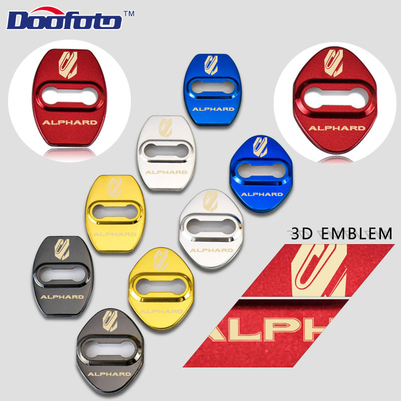 Doofoto 3D Auto Emblems Door Lock Cover  Stickers JDM Accessories For Toyota Alphard Corolla Avensis Stainless Steel Car Styling