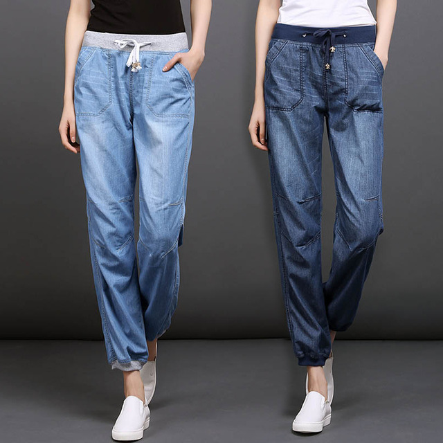806fd2018fc23 Plus Size Summer Harem Pants Lady High Waisted Elastic Loose Joggers Pants  Jeans Women s Casual Denim Trousers Capris 3XL 4XL