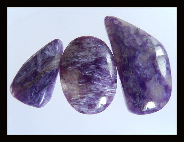 Natural Stone Sale 3Pcs Charoite Cabochons,23*12*3mm,16*9*3mm,4.5g semiprecious stone cabochon charoite fine jewelry