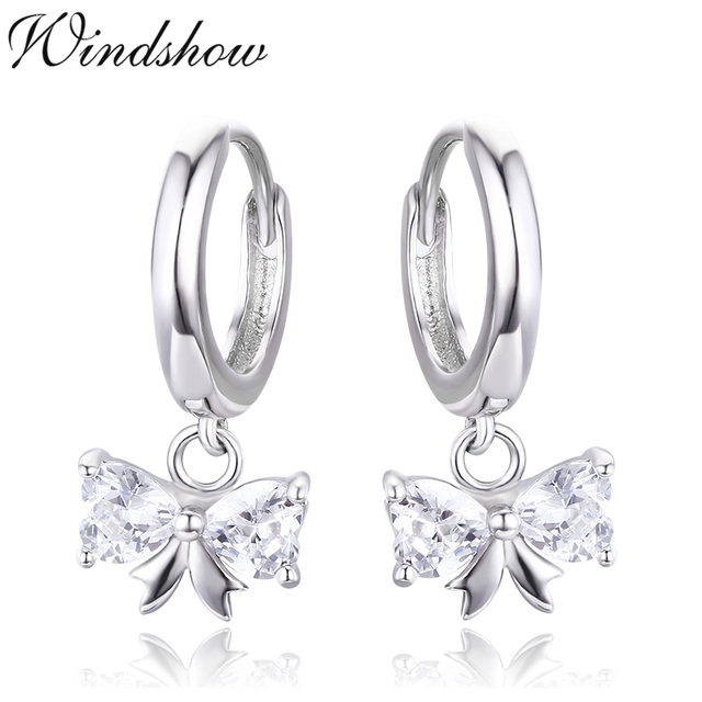 Cute 925 Sterling Silver Bow Heart CZ Charms Circles Small ...