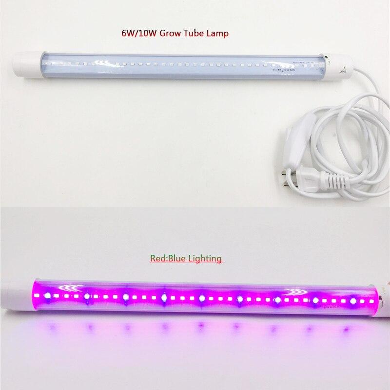 SMD2835 Full Spectrum Grow Bulb Light 6W 10W Phyto Lamp Growth Led  T8 Tube Lamp For Flower Seedling Plants Growing 110V 220V