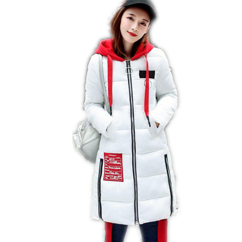 2017 New Fashion Winter Women Down Cotton Medium-Long Jacket Parka Female Hooded Slim Thicken Outerwear Cotton Warm Parkas CQ591 winter jackets coats new down cotton jacket women parkas thicken hooded outerwear slim large size medium long female coat k616