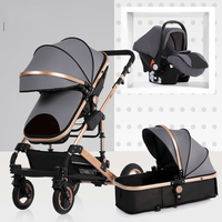 Wisesonle baby stroller 3 in 1 stroller lying or dampening folding light weight two sided child four seasons