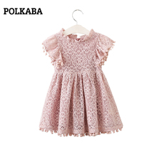 2-7T New 2019 Kids Summer Dresses Cotton Sleeveless White Lace Long for Girls Fashion Elegant Formal Vestidos Party Gown