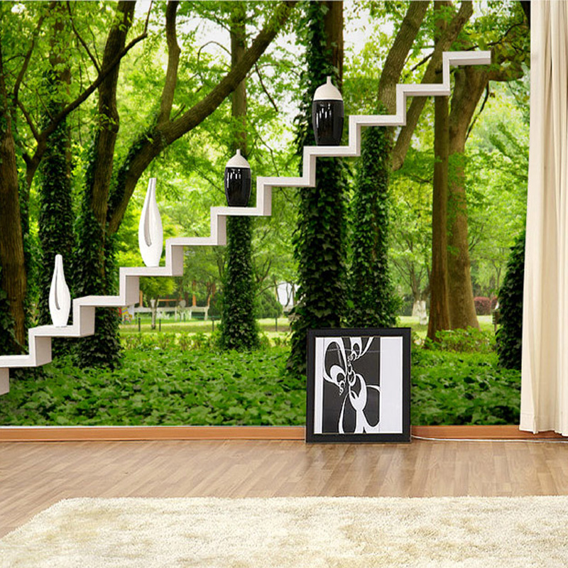 Aliexpress.com : Buy Photo Wallpaper Modern Simple Green Forest Nature  Landscape 3D Panel Wall Mural Living Room Background Wall Home Decor  Wallpaper From ... Part 91