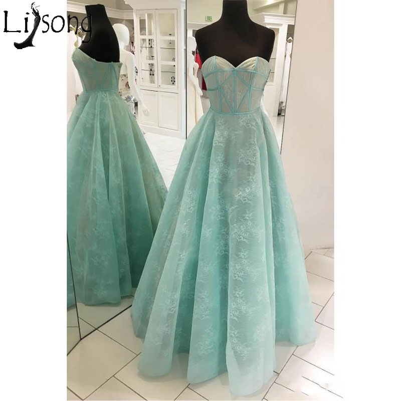 Vintage Lace   Prom     Dresses   Sleeveless Sweetheart Sexy Zipper Back A-Line Plus Size Mint Formal   Dress   Evening Wear Party Gowns