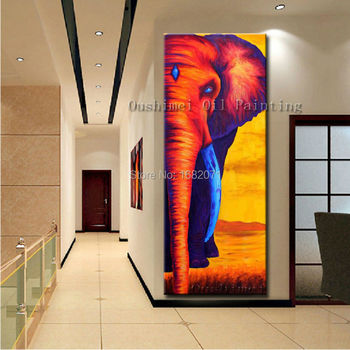 Skills Artist Hand-painted High Quality African Elephant Oil Panting On Canvas Abstract African Elephant Canvas Painting