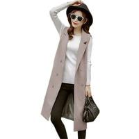 Black Long Vest Women Sleeveless Jacket Coat Waistcoat Colete Feminino 2019 Spring Fashion Elegant Office Suits Chalecos Mujer