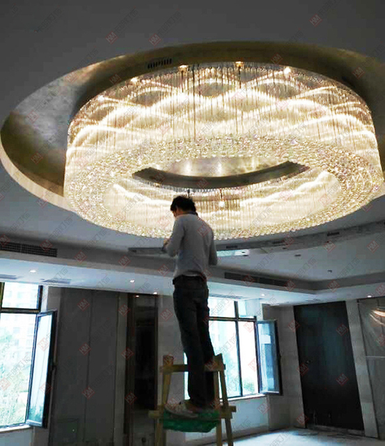 T Luxury Large Engineering Hall Ceiling Light Crystal Circular Led Living Room Hotel Villa Ktv
