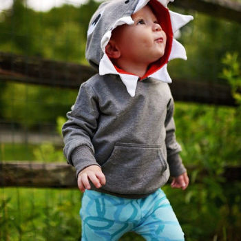 Toddler Kids Baby Boys Hoodie Cotton Long Sleeve Hooded Pullover Shark Cartoon Grey Sweatshirt Outfit Fall Winter 1-5Y Hoodies & Sweatshirts
