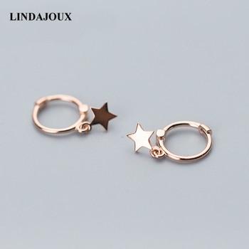 8892b57c3e4e LINDAJOUX Real 925 Plata de Ley Rosa oro-Color estrella Stud pendientes  para mujer Sterling-Silver-jewelry pendientes pequeños tachuelas
