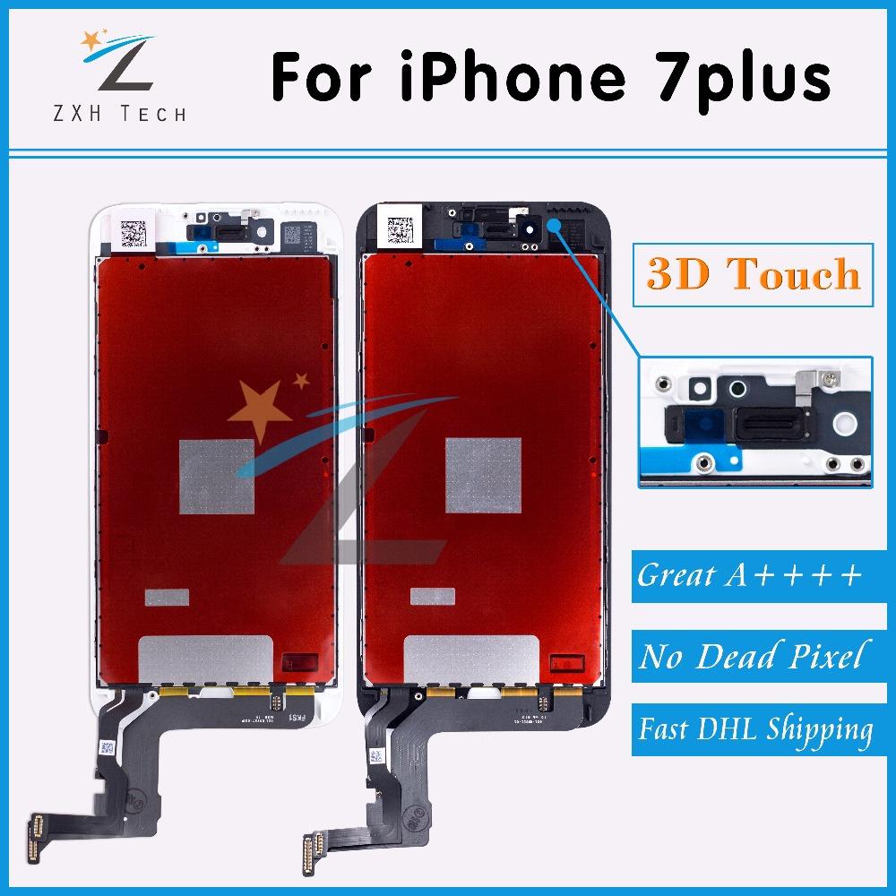 Prix pour 2 PCS/LOT Aucun Spot A + + + + pour iPhone 7 Plus LCD Full assemblée avec Écran Lentille De Remplacement Pantalla Noir Blanc via Livraison DHL