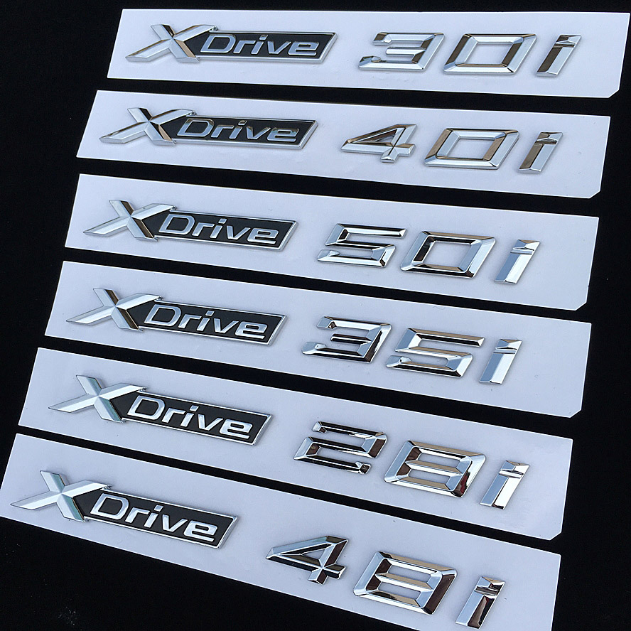 1pcs 3D ABS Car Styling XDrive Logo <font><b>Emblem</b></font> X <font><b>Drive</b></font> 20i 25i 28i 30i 35i 40i 48i 50i For <font><b>BMW</b></font> X1 X3 X4 X5 X6 Door Sticker image
