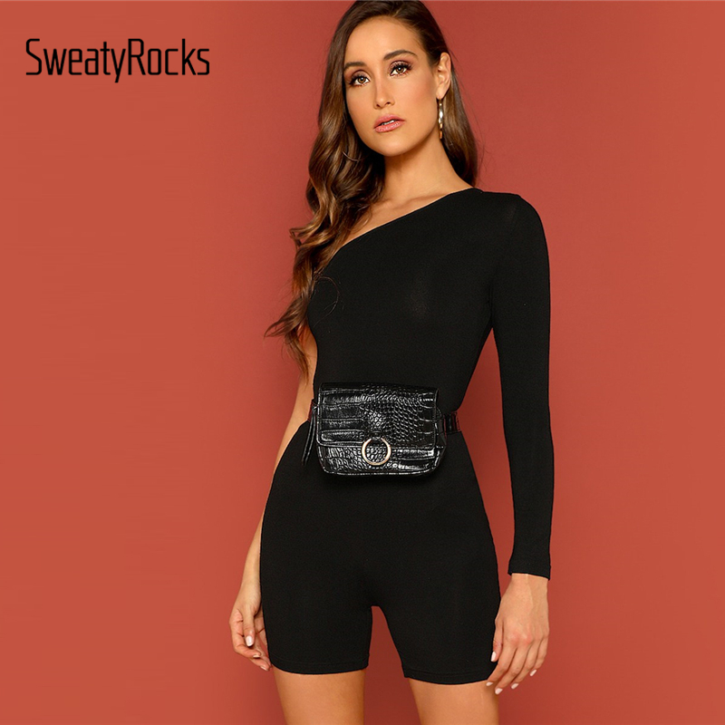 SweatyRocks Solid One Shoulder Skinny Romper Fashion Long Sleeve Black Skinny Playsuits 2019 Women Summer Streetwear   Jumpsuits
