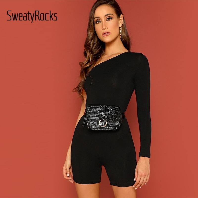 SweatyRocks Solid One Shoulder Skinny Romper Fashion Long Sleeve Skinny Playsuits 2019 Women Summer Streetwear   Jumpsuits