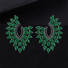 купить SisCathy 2019 New Hot Big Statement Earrings For Women Charm Shiny Stud Earrings Jewelry Cubic Zirconia Wedding Accessories дешево