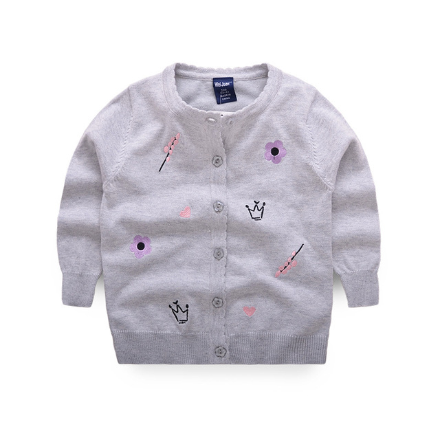 Blume Solide Mädchen Strickjacke Crew Neck Stickerei Kinder Pullover ...