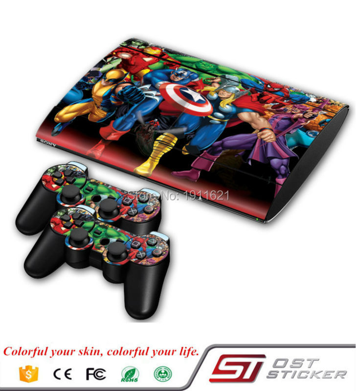 1Set Vinyl Decal Skin Sticker for PS3 Super Slim 4000 Console Skins Stickers Controller Joystick Gampad