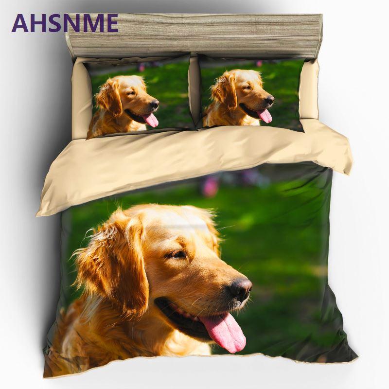 AHSNME Golden Retriever chien ensemble de literie pour enfants unique 3D imprimé housse de couette avec taies d'oreiller chien lit ensemble Animal literie