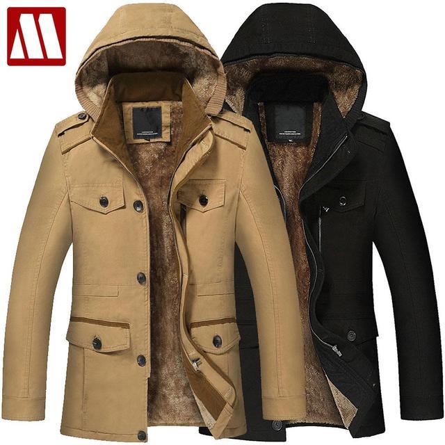 21bac54940d1e Plus Size 5XL 6XL New Men's Long Trench Coat 100% Cotton Hoodies Thick Winter  Warm