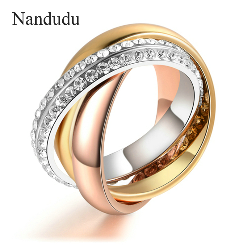 Nandudu 3 in 1 Ring Fashion Trend Nice Crystals Jewelry Gift for women HOT SALE Three Gold Color Rings Accessories R586