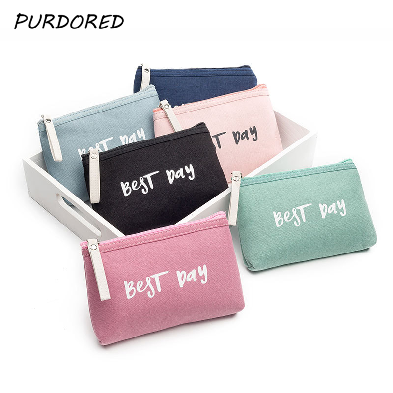 PURDORED 1 Pc Solid Women Make Up Bag Best Day Cosmetic Bag Travel Organizer Washing Bag Small Makeup Cases Dropshipping