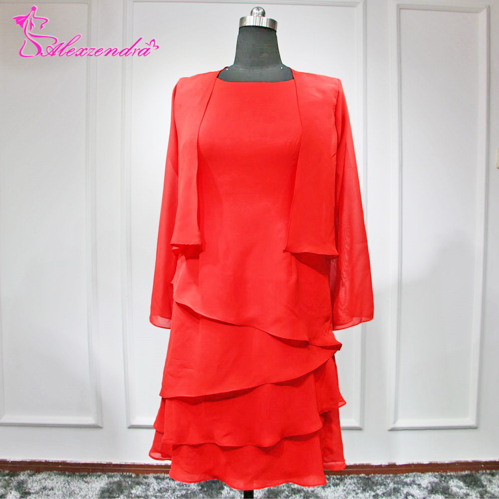 Alexzendra Red Chiffon Tea Length Mother of Bride Dress with Jacket Plus Size Elegant Party Dress Wedding Occasion Dresses