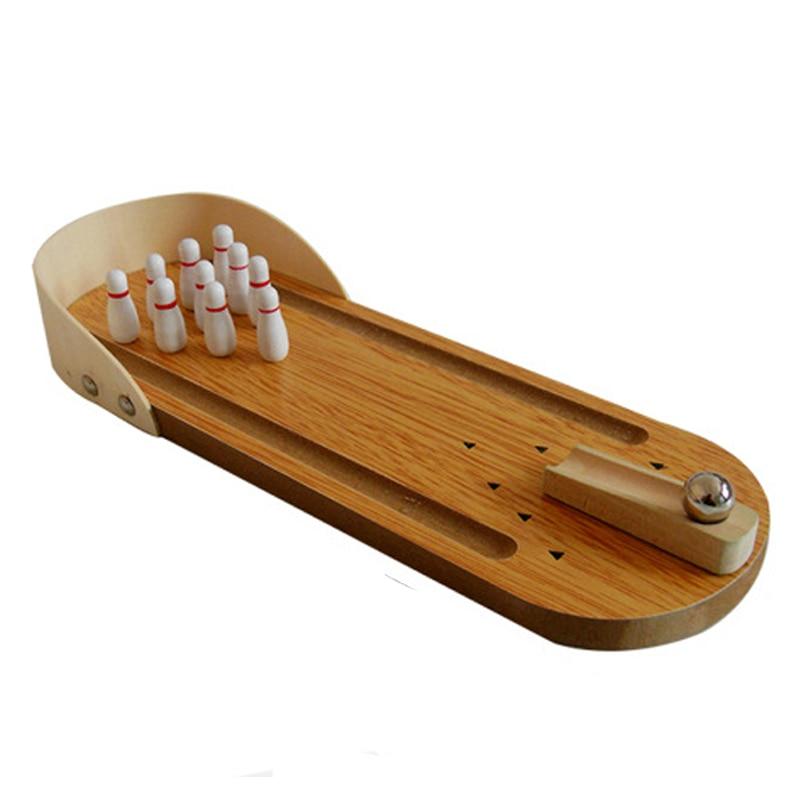 mini juego de bolos juego de escritorio de madera de ocio bolera diez pin de metal