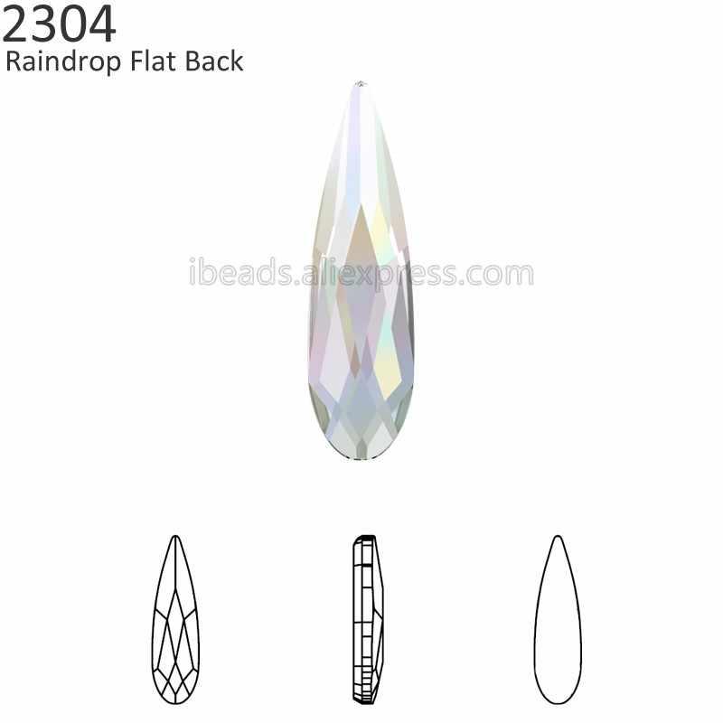 (2 pieces) 100% Original Crystals from Swarovski 2304 Raindrop Flat Back no  hotfix c23d85f91586