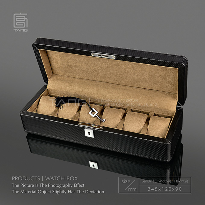 Carbon Fibre Leather Watch Display Box Case With Lock New Black Watch Storage Cases For Mechanical Watches Women Gift Box