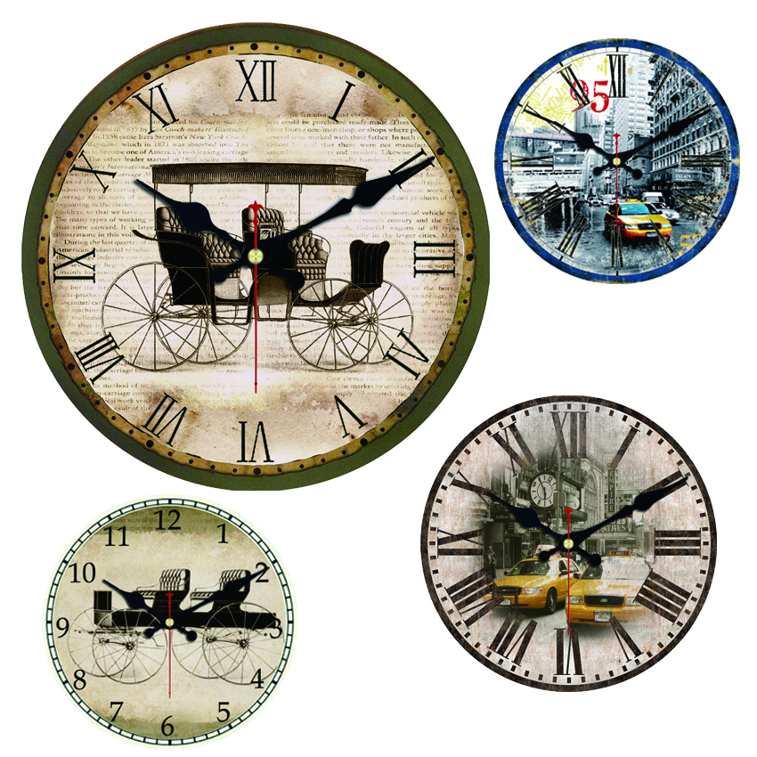 large carriage city taxi decorative round wall clock living room wall decor saat fashion silent. Black Bedroom Furniture Sets. Home Design Ideas